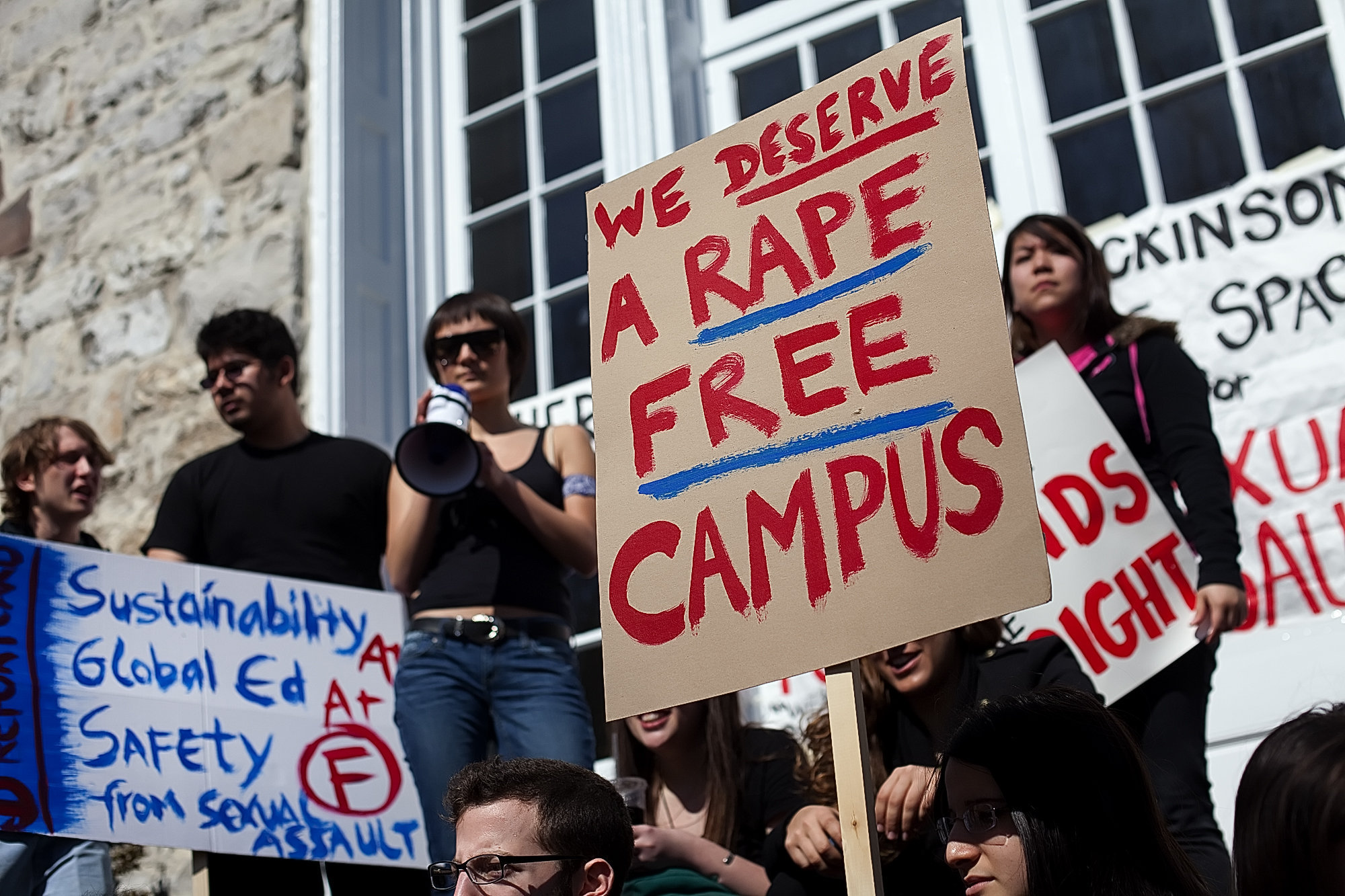 Students protesting campus sexual assault