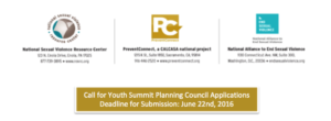 Call for Youth Summit Planning Council Applications Deadline for Submission: June 22nd, 2016 with logos of NSVRC, SAESV and PreventConnect